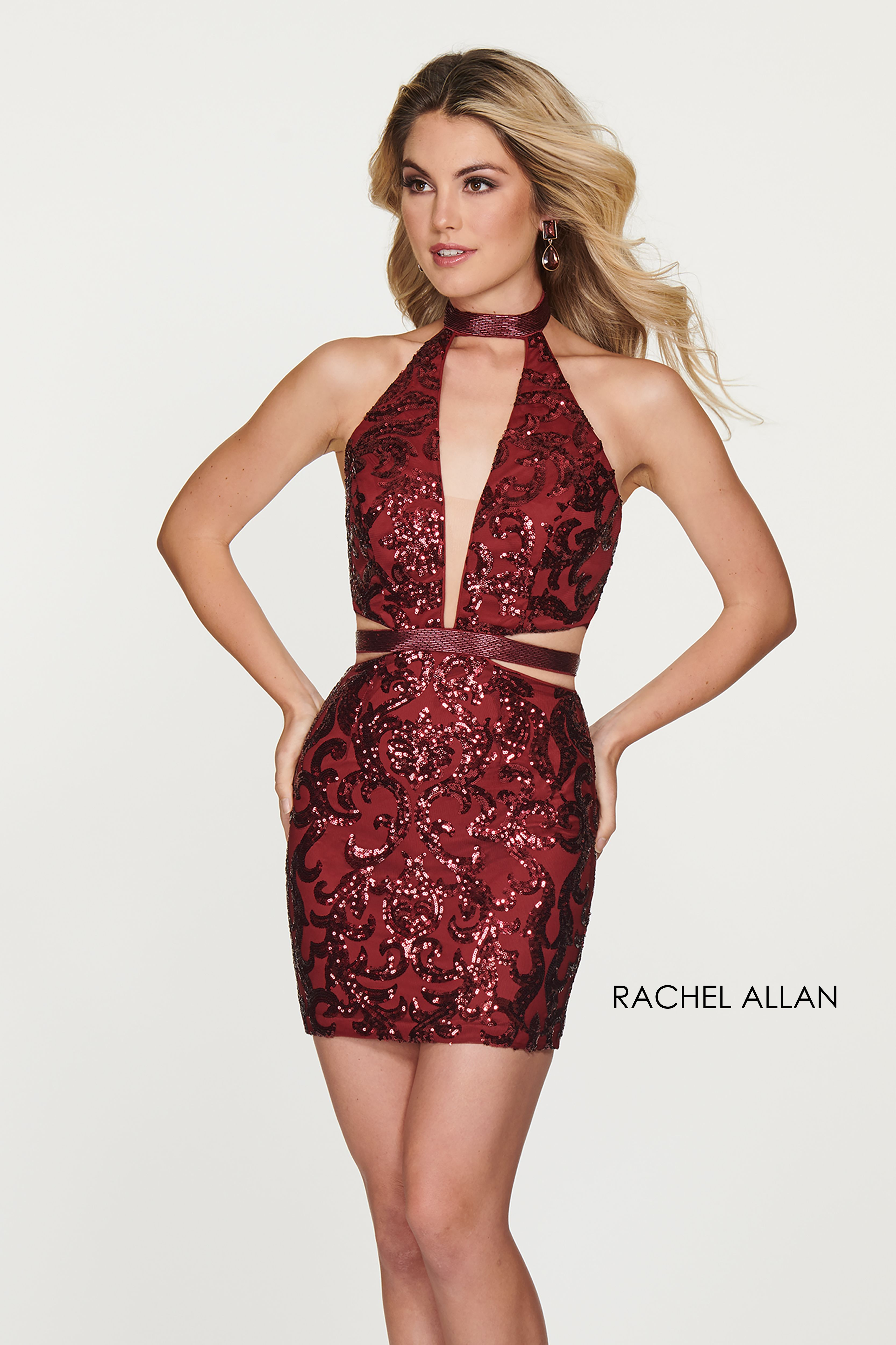 Choker Fitted Mini Homecoming Dresses in Red Color | Mini ...