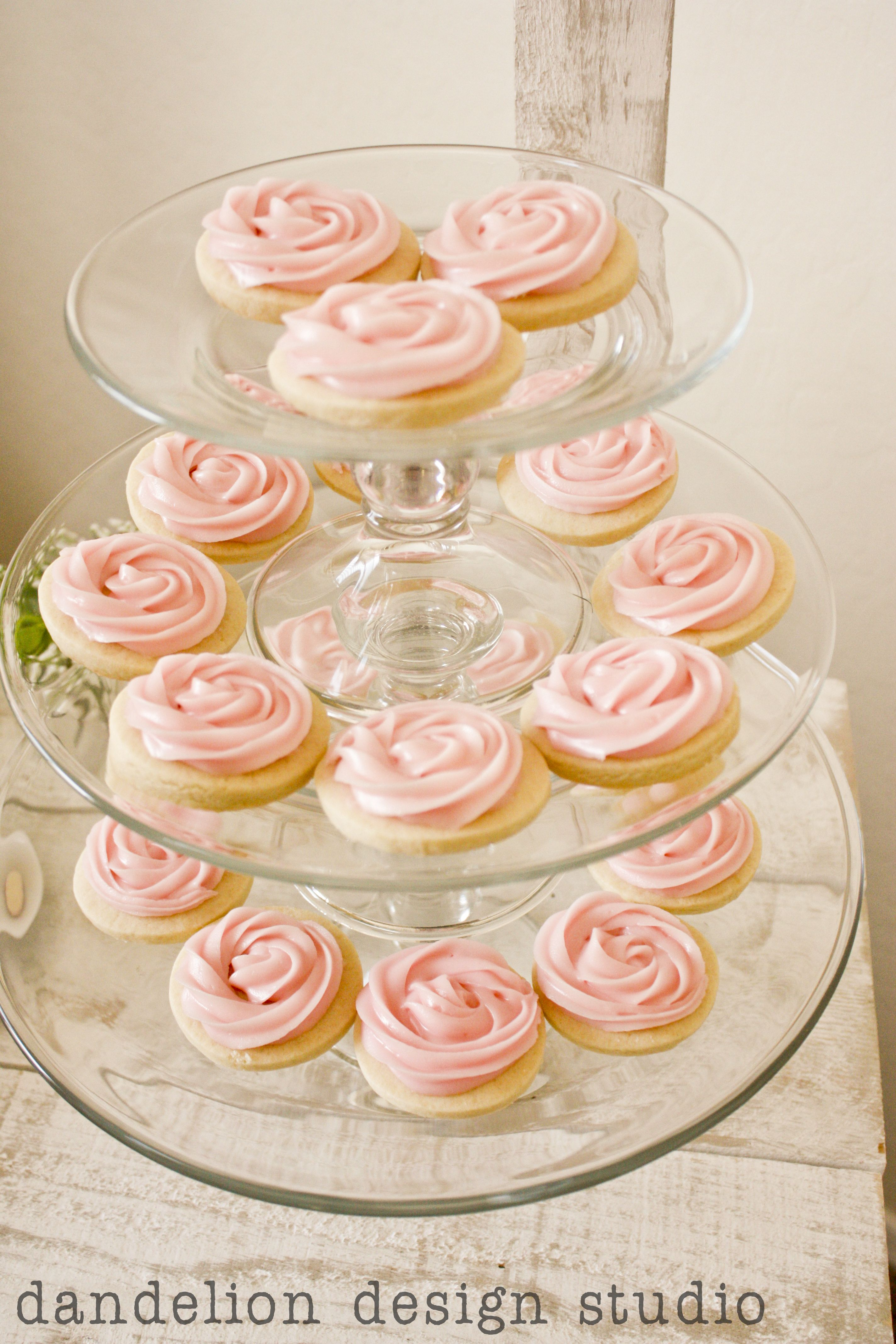 Pink Rose Sugar Cookies - Dandelion Design Studio