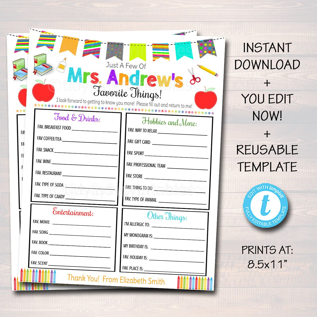 Editable Teacher Favorites Survey Teacher Appreciation