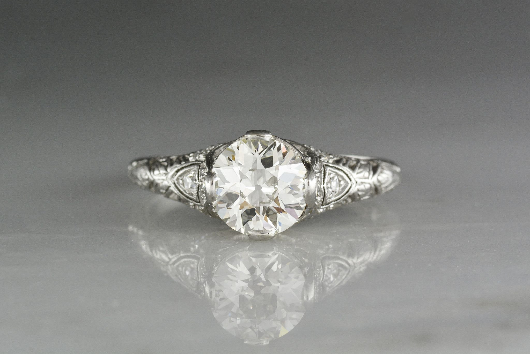 87c54c63c 1.20 Carat Old European Cut Diamond in Antique c. 1910 High Edwardian  Engagement Ring from Pebble and Polish