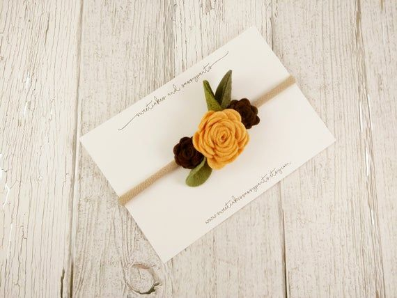 fall felt flower headband, floral headband, nylon headband, newborn photo prop, felt flower headband #feltflowerheadbands