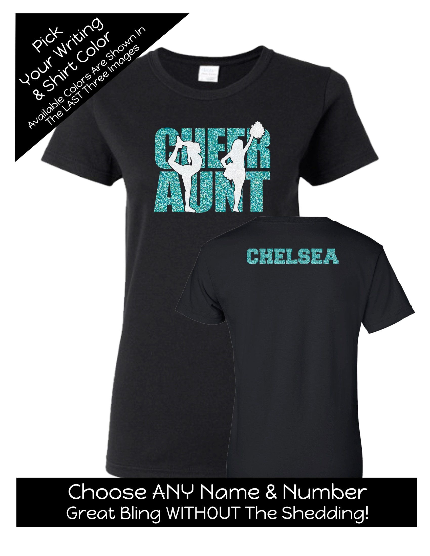 a94aba1ae Cheer Aunt Shirt With Name on the Back - Personalize the Colors - Beautiful  Glitter - Proud Aunt of a Cheerleader by MagicalMemoriesbyJ on Etsy