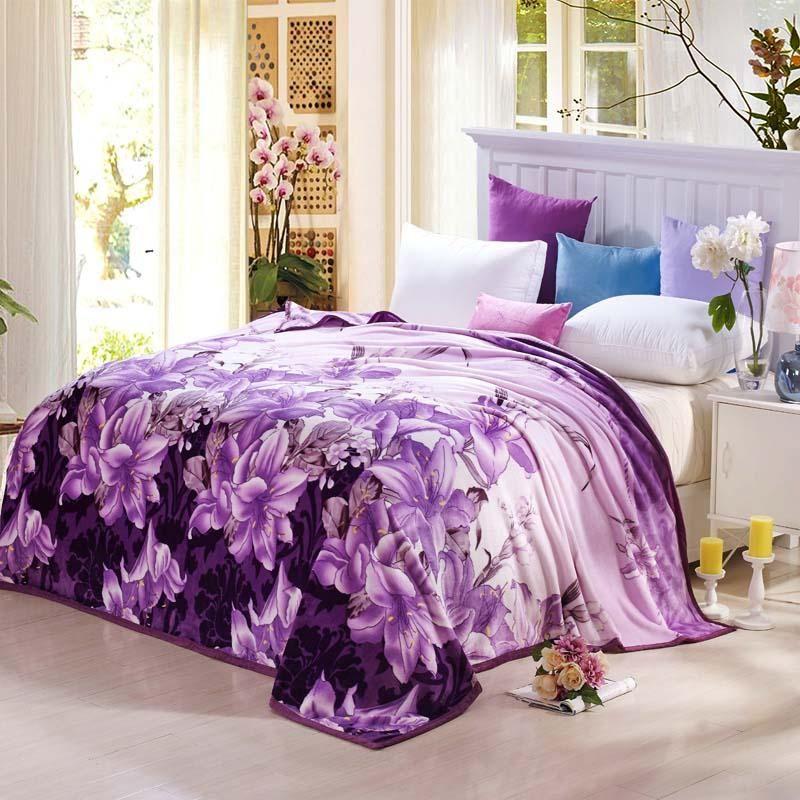 Coral Fleece blanket on the bed home adult Plaid Flower beautiful blanket  warm winter sofa travel blanket purple portable  2 cbfa2783a