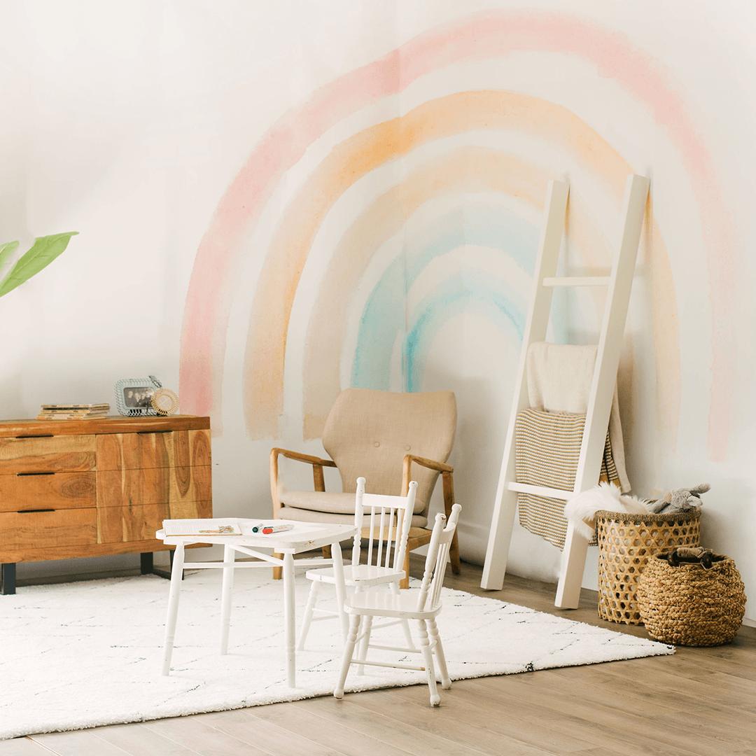 Elsi Rainbow Wallpaper Mural Kid Room Decor Rainbow Room Rainbow Wallpaper