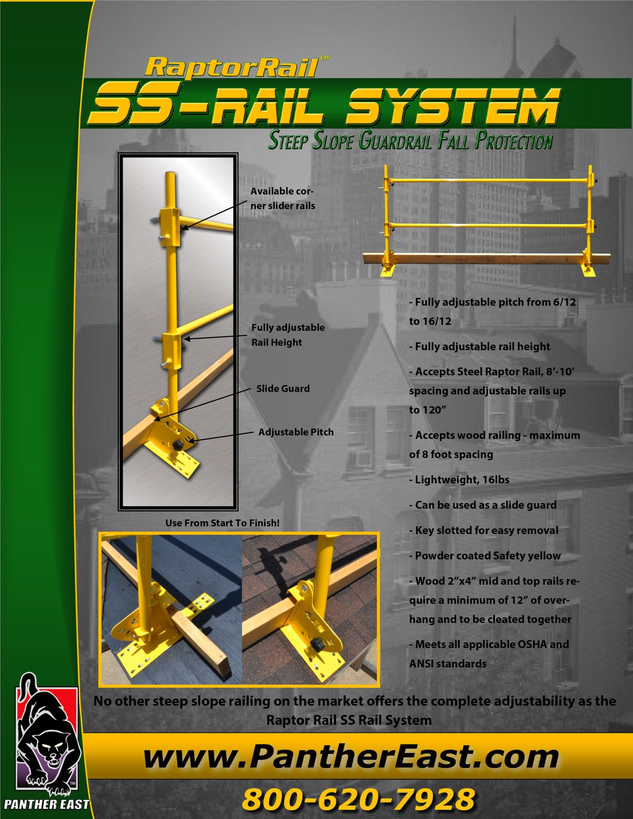 Aes raptor ssrail system steep slope guardrail fall
