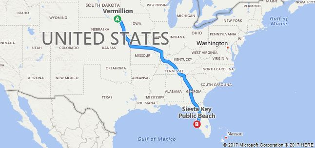 Driving Map Of Florida.Vermillion To Siesta Key Public Beach Driving Map Florida