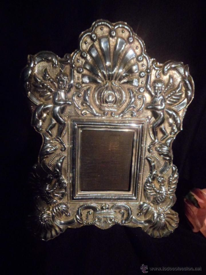Maravilloso marco de plata de Ley escenas de ángeles, repujado. Años ...