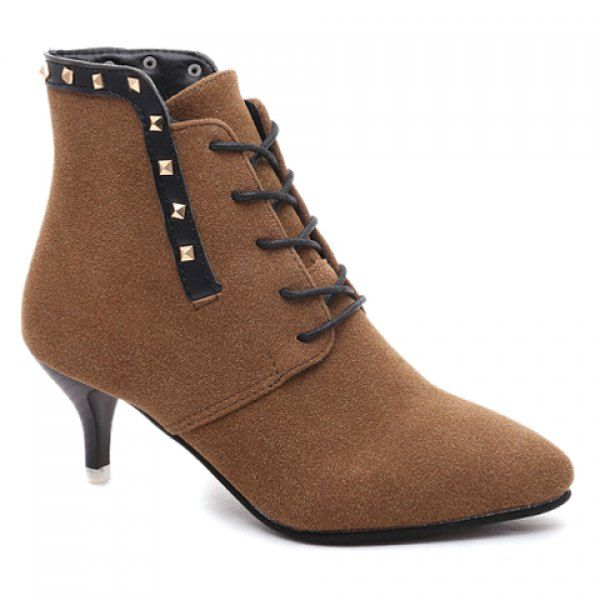 Wholesale Graceful Rivets and Lace-Up Design Women's Short Boots Only $9.33 Drop Shipping | TrendsGal.com