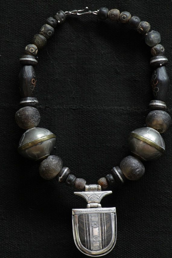 Tuareg sterling silver & ebony amulet with antique by Nomadgal, $395.00