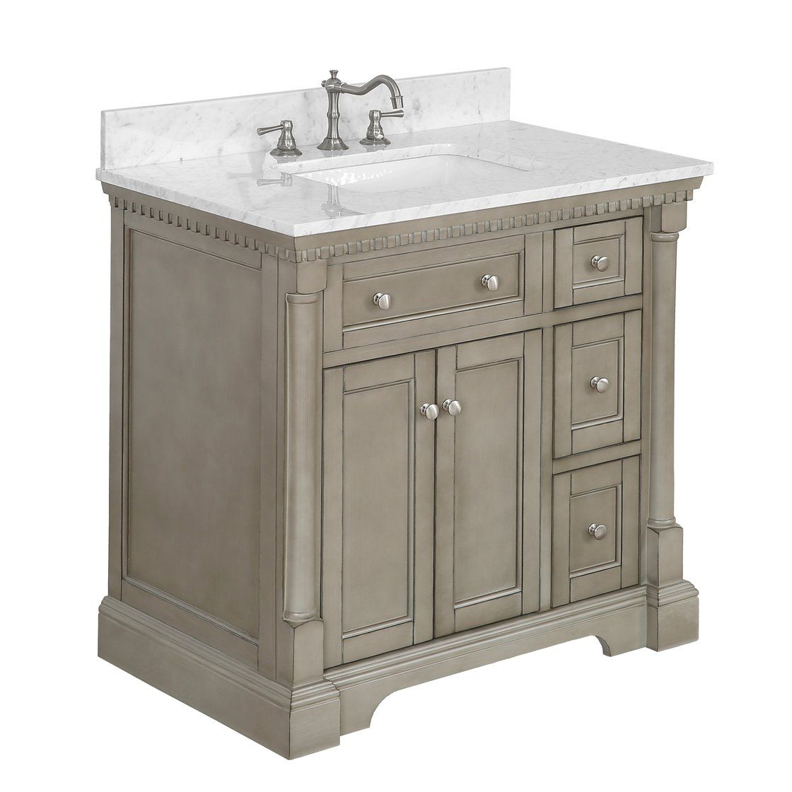 Sydney 36 Inch Vanity Carrara Marble Bathroom Vanity Single