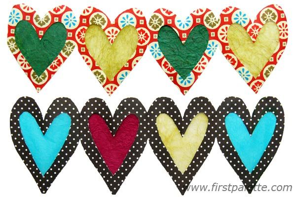 Paper Heart Chains out of gift wrap paper