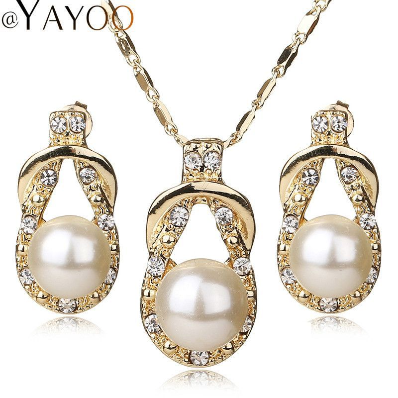 AYAYOO Necklace Earrings Gold Plated Fine Jewelry Sets For Women