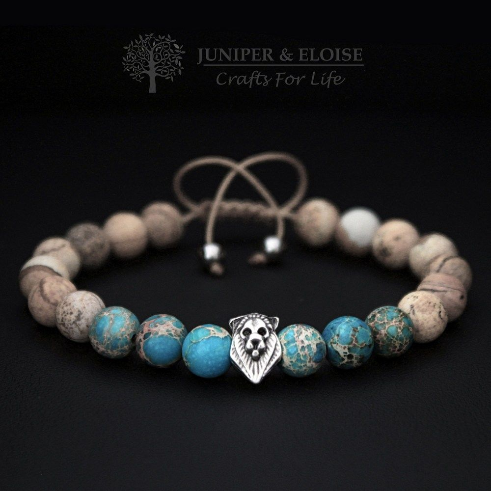 Mens Adjustable Bracelet , Lion Bracelet Turquoise Variscite Stone   Juniperandeloise  Jewelry On Artfire