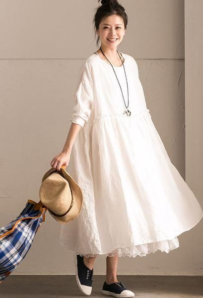70941dead9d80 White Linen Summer Pleated Dresses Oversize Women Clothing Q292BG ...