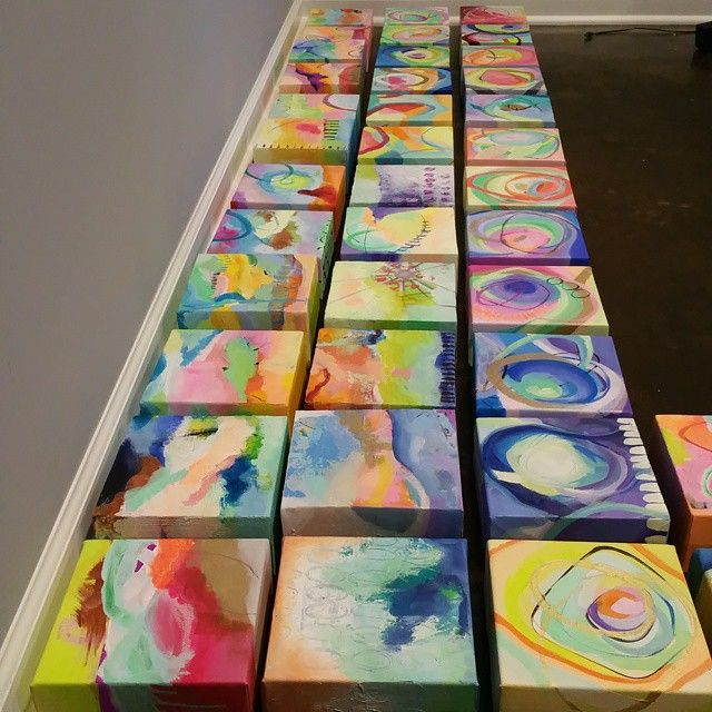 Lining Them Up Paintings Everywhere Each Tiny Painting Is 6 X