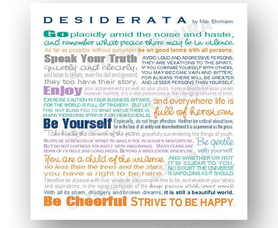 photograph about Desiderata Printable referred to as Desiderata Poem by means of Max Erhmann - Quick Printable Down load