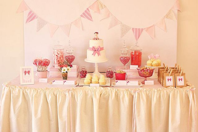pretty pink first birthday table by cake ink janelle via flickr