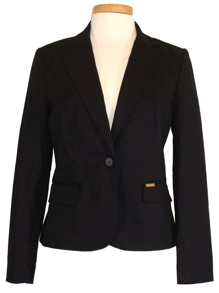 NEW Calvin Klein Womens Jacket Blazer Career Workwear Stretch Black Sz 6 $139 #CalvinKlein #Blazer