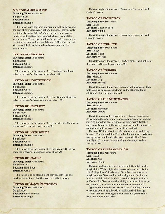 A Guide To Magical Tattoos V 10 Dd Dungeons Dragons Dnd 5e