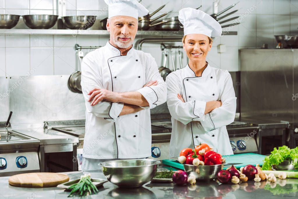 Female Male Chefs Uniform Arms Crossed Cooking Restaurant Kitchen