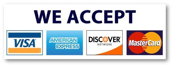 We Accept Credit Cards AmEx Visa MasterCard Discover Decals