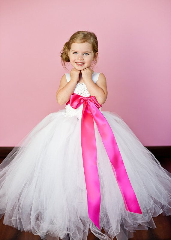 hot pink and grey wedding flower girl | lpb 33 white and hot pink ...