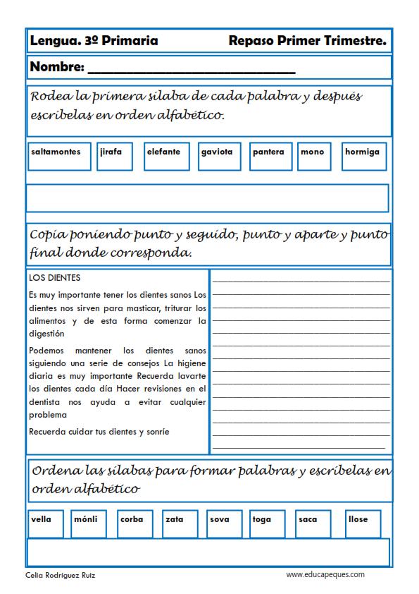 Ejercicios de lengua para Tercero de Primaria | ejercicio español 3 ...