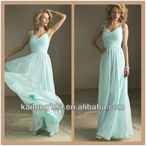 Cheap V-neck Beaded Straps Full Length Gathered Bodice Long Flowing Mint Chiffon Modest Bridesmaid Dress