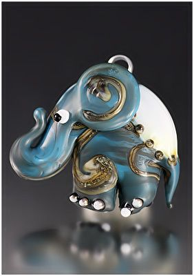 Lampwork elephant great craft idea for handmade necklaces. Always a one of a kind work of art.
