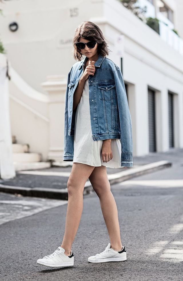 835d9c8c860 Denim jacket + white dress + Stan Smith | getting warmer | Fashion ...