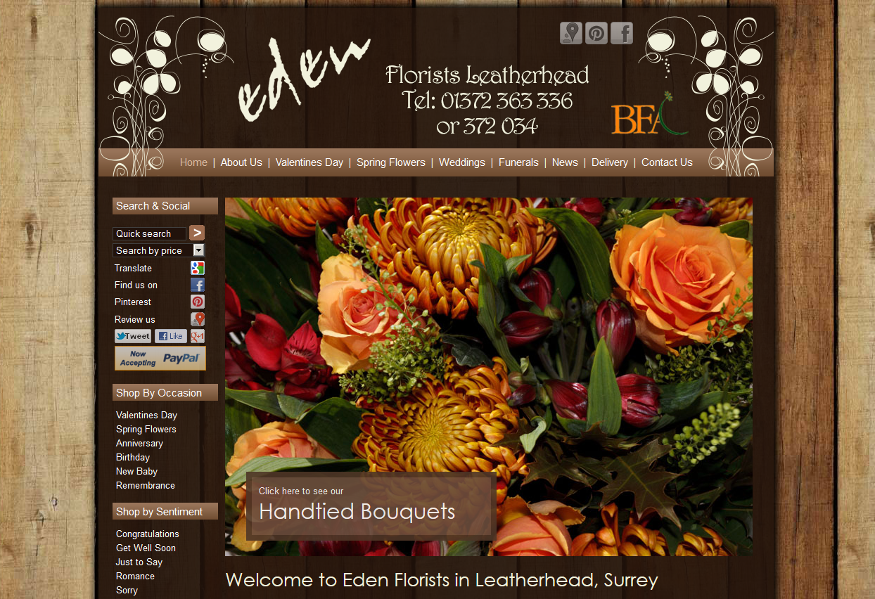 Eden Florists In Leatherhead Their New Look Ecommerce Website