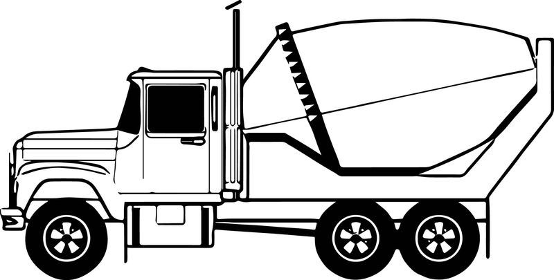 Cement Truck Line Coloring Page See The Category To Find More