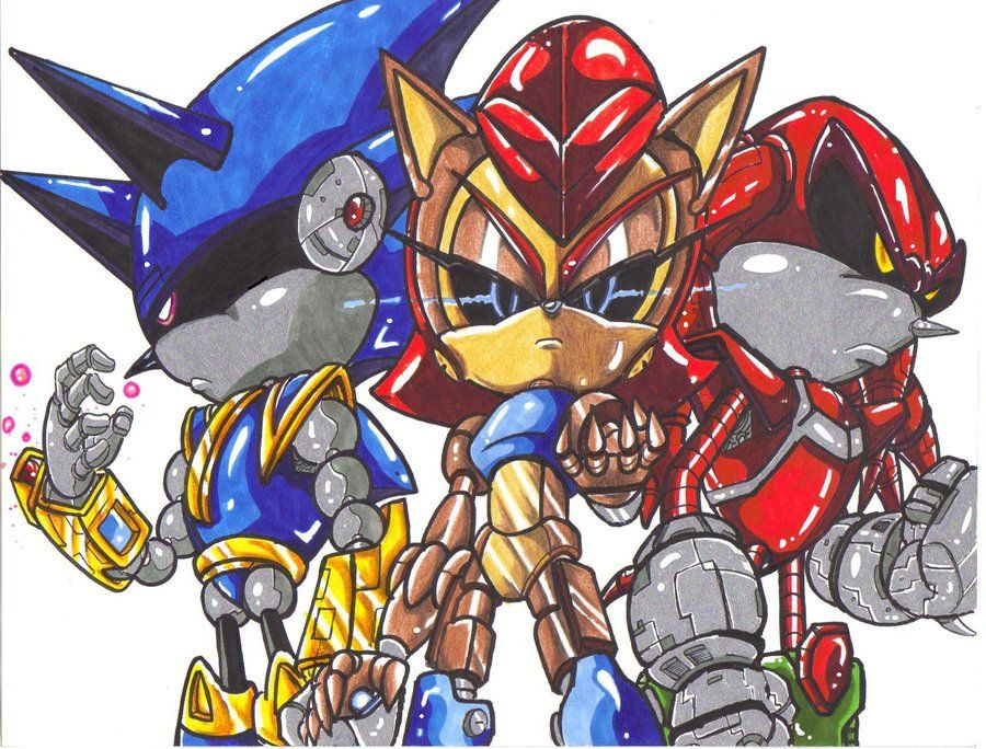 mecha sonic,sally,and knuckles by trunks24 deviantart com on
