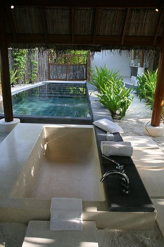 Outdoor Pool Bathroom Ideas wouldnt need kitchen area but nice bathroom and dressing area maybe add shower in bathroom area but not separate room pool ideas pinterest Plunge Pool With An Outdoor Bath Now This Is Something Very Special