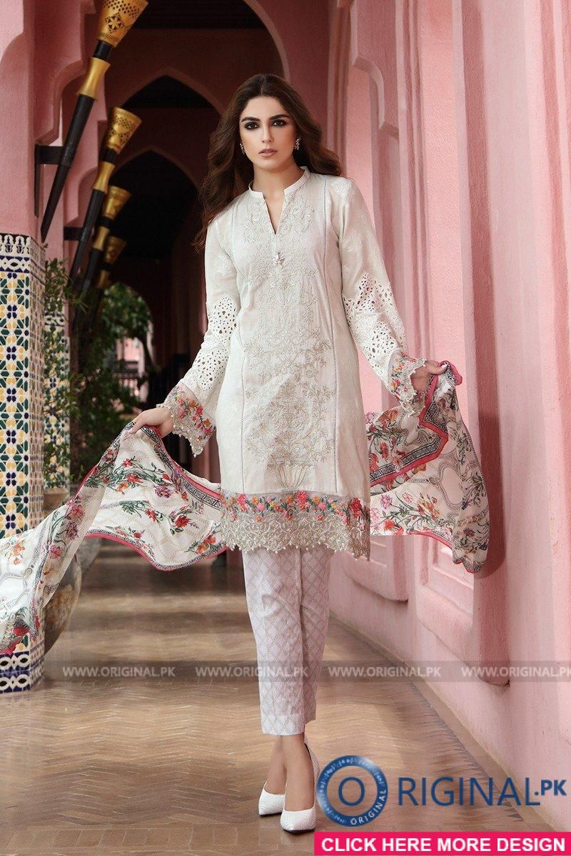 f4a091f281 Maria B D-402 White Lawn Eid Collection 2017 | Maria B | Pakistani ...