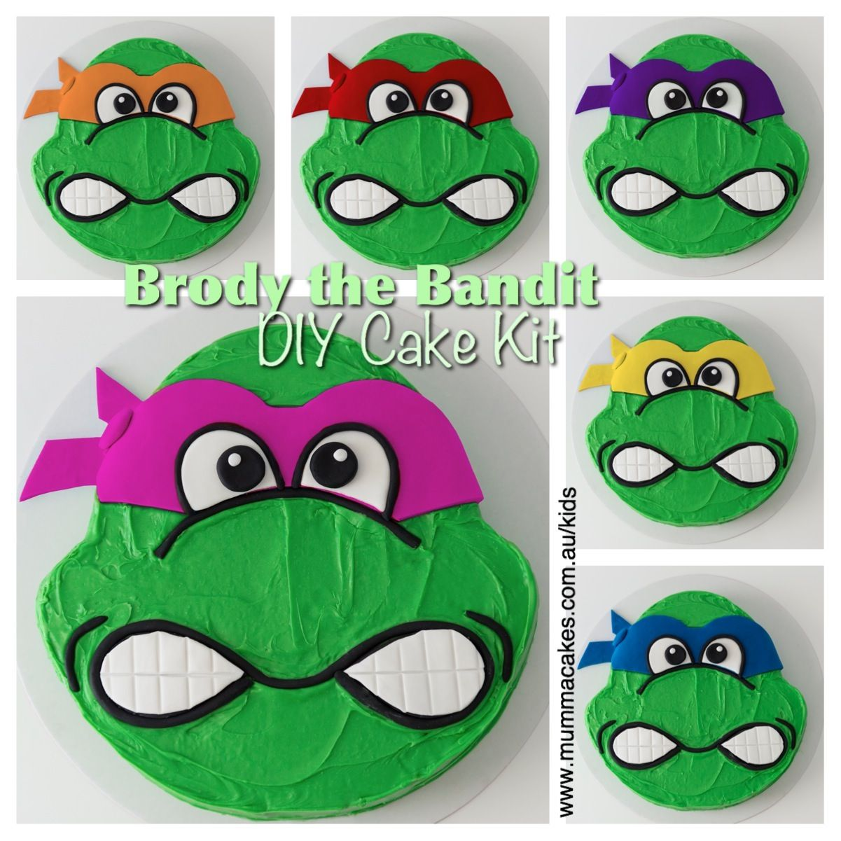 Brody the Bandit DIY Cake Kit! You choose the mask colour and then we supply everything you need to create this awesome cake! www.mummacakes.com.au/kids