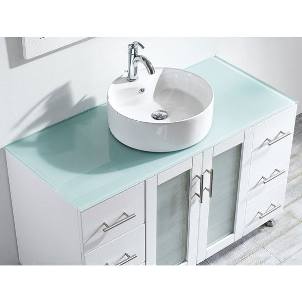 Vinnova Tuscany 48 Inch Single Vanity In White With Carrera White Vessel Sink With Glass Countertop Without Mirror Glass Countertops White Vessel Sink Glass Vanity