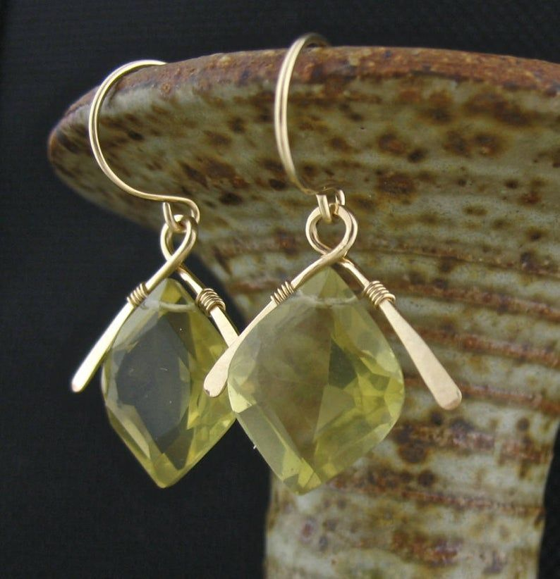Photo of Lemon Yellow Quartz Wired Stone Earrings, Handmade Wrapped Stone Jewelry, Rare Stone Earrings, Yellow Gold Jewelry