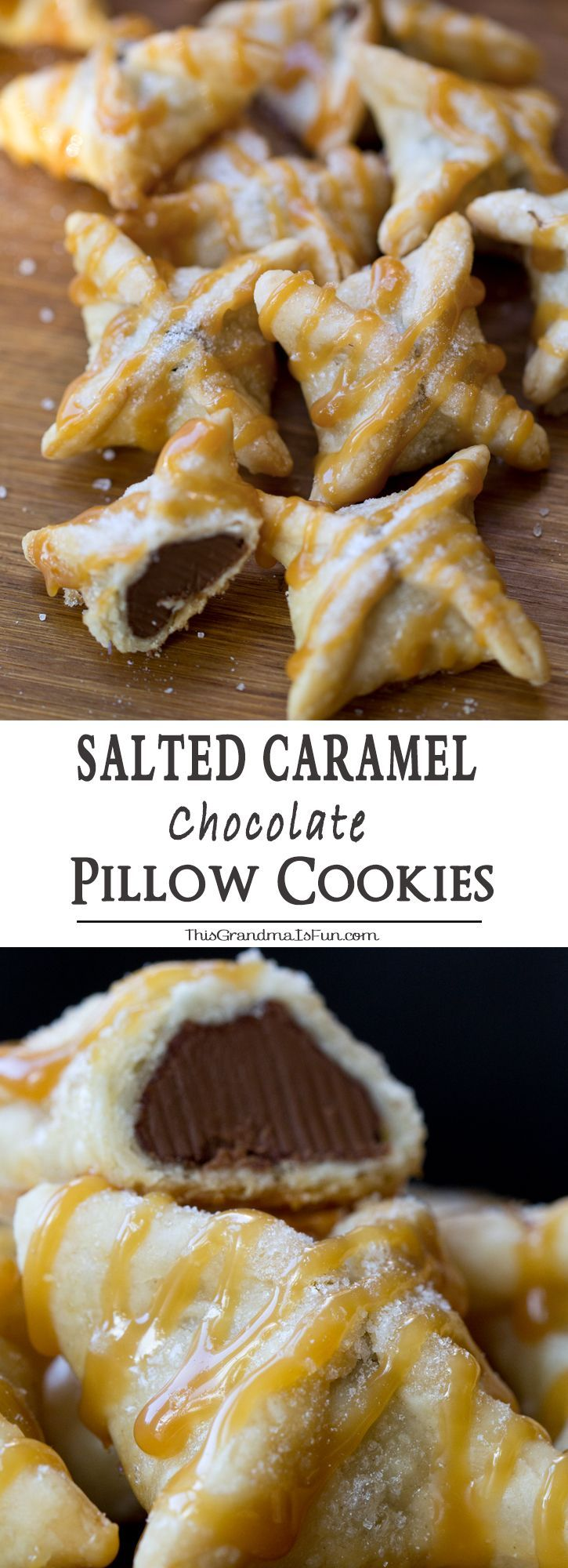 Salted Caramel Chocolate Pillow Cookies