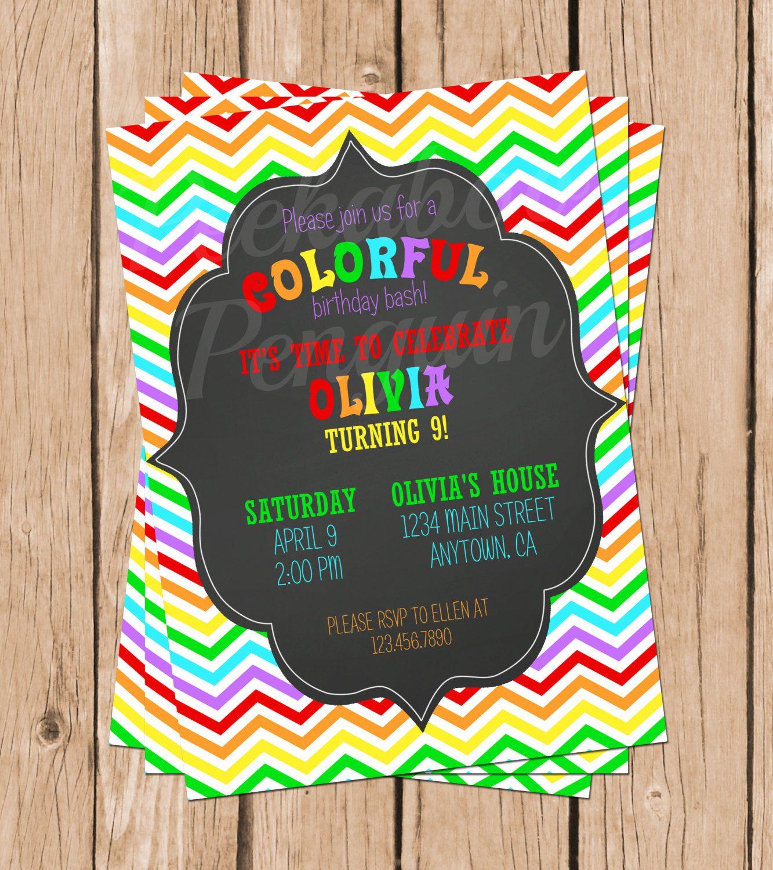Rainbow invitations rainbow invites birthday invites chalkboard rainbow invitations rainbow invites birthday invites chalkboard invitations tween kids birthday invites filmwisefo Choice Image