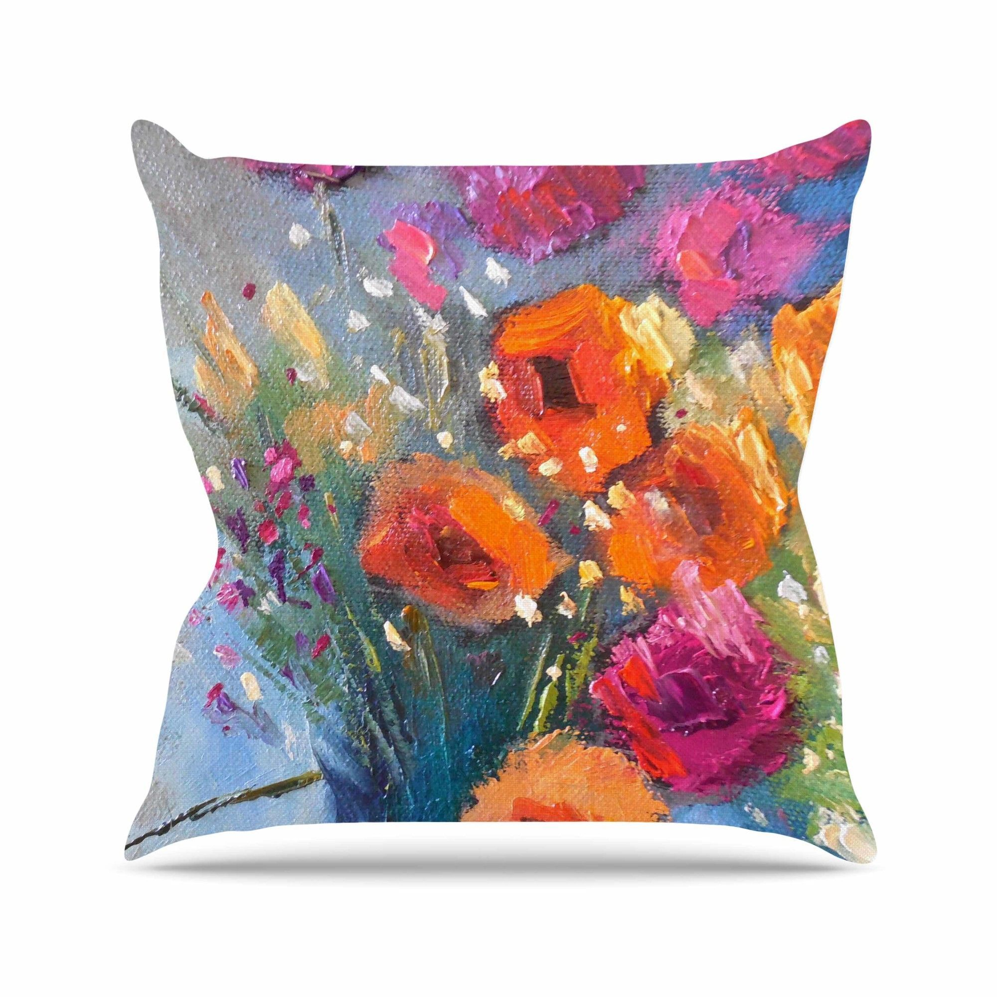 Roadside Bouquet Throw Pillow