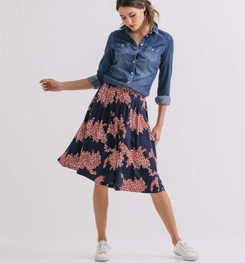 0345ec22697d Under-the-knee skirt dark blue print - Promod Midi Skirts, Denim Shirt