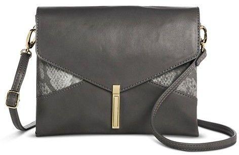 Mossimo Women's Snake Skin Detail Pushlock Crossbody Handbag - Gray - MossimoTM - $29.99
