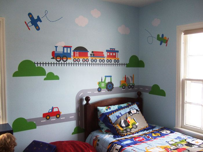 Trains planes trucks transportation wall decal for Stickers habitacion nina