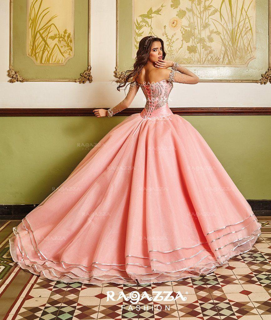9bc5910ae Beaded Sheer Sleeved Quinceanera Dress by Ragazza Fashion V89-389 ...