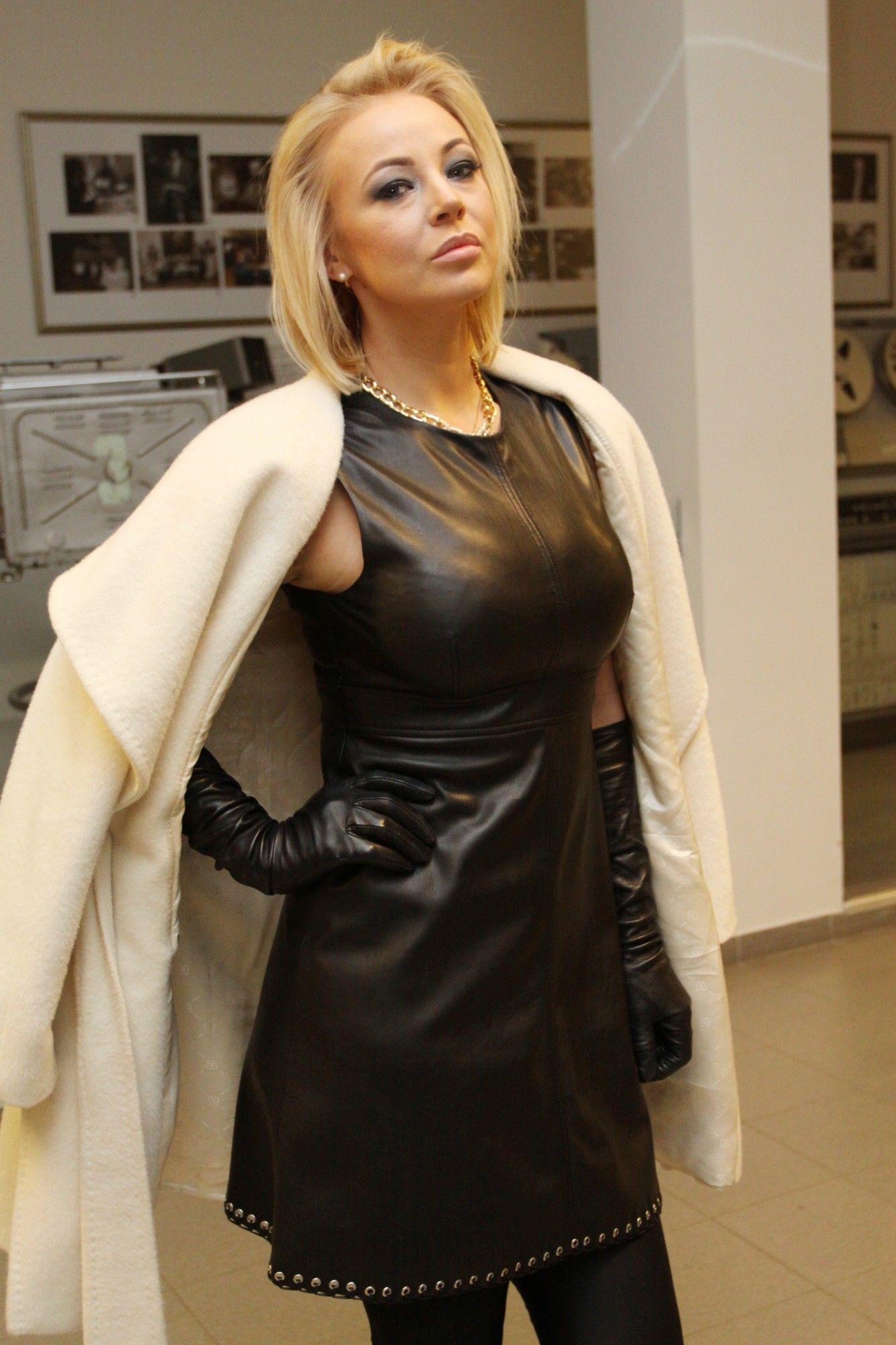 Leather Dress And Gloves  Leather Dresses, Fashion, Dress -3935