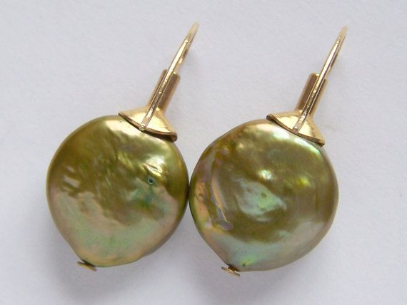 Large 15mm Green Freshwater Pearl Coin Earrings by pinkowljewelry, $29.00