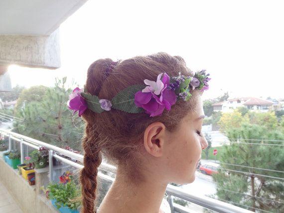 Purple Hydrangea Flower Crown Wedding Hair by sevinchjewelry
