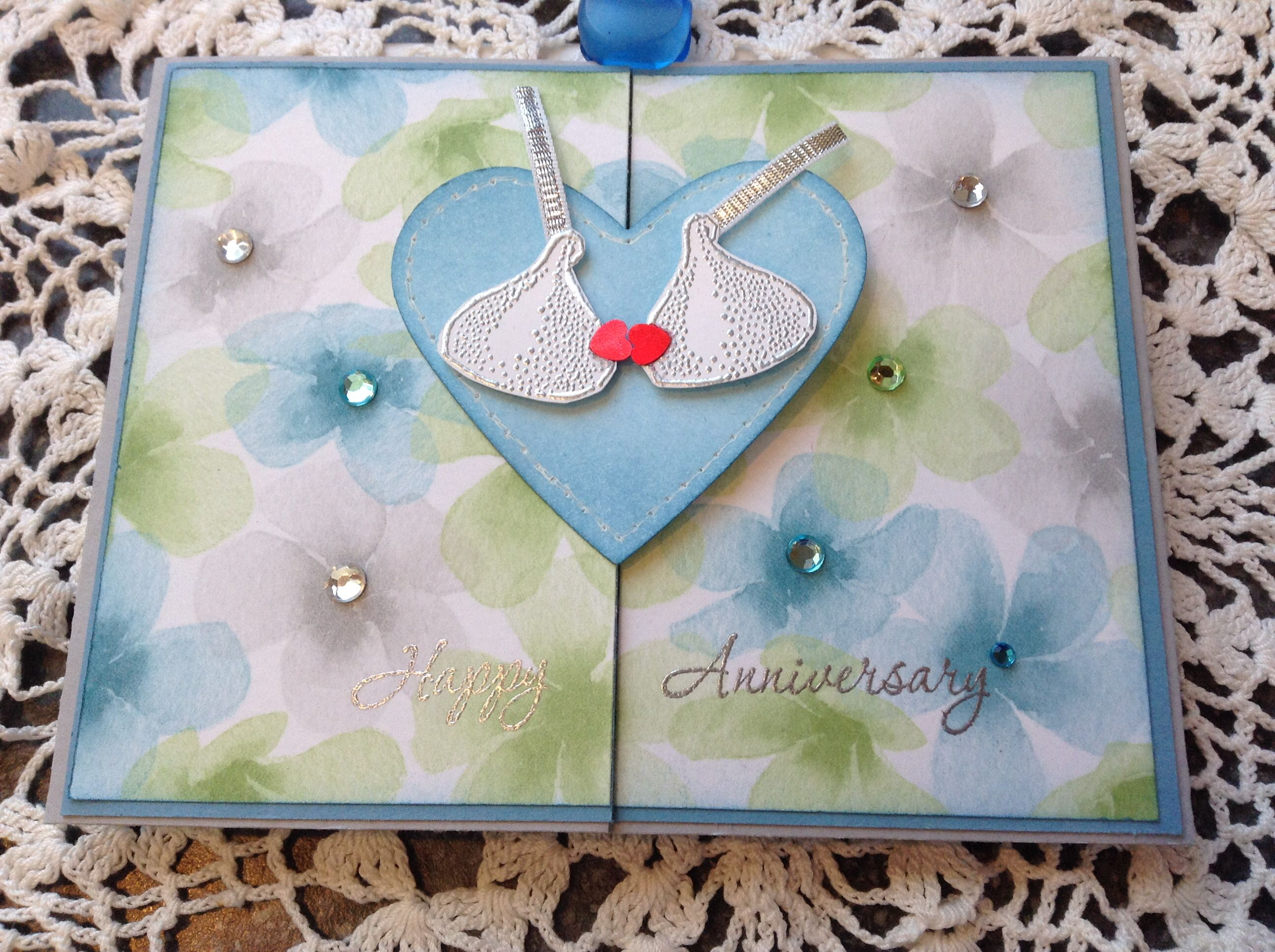 Anniversary card silver embossed kisses and words on stampin up