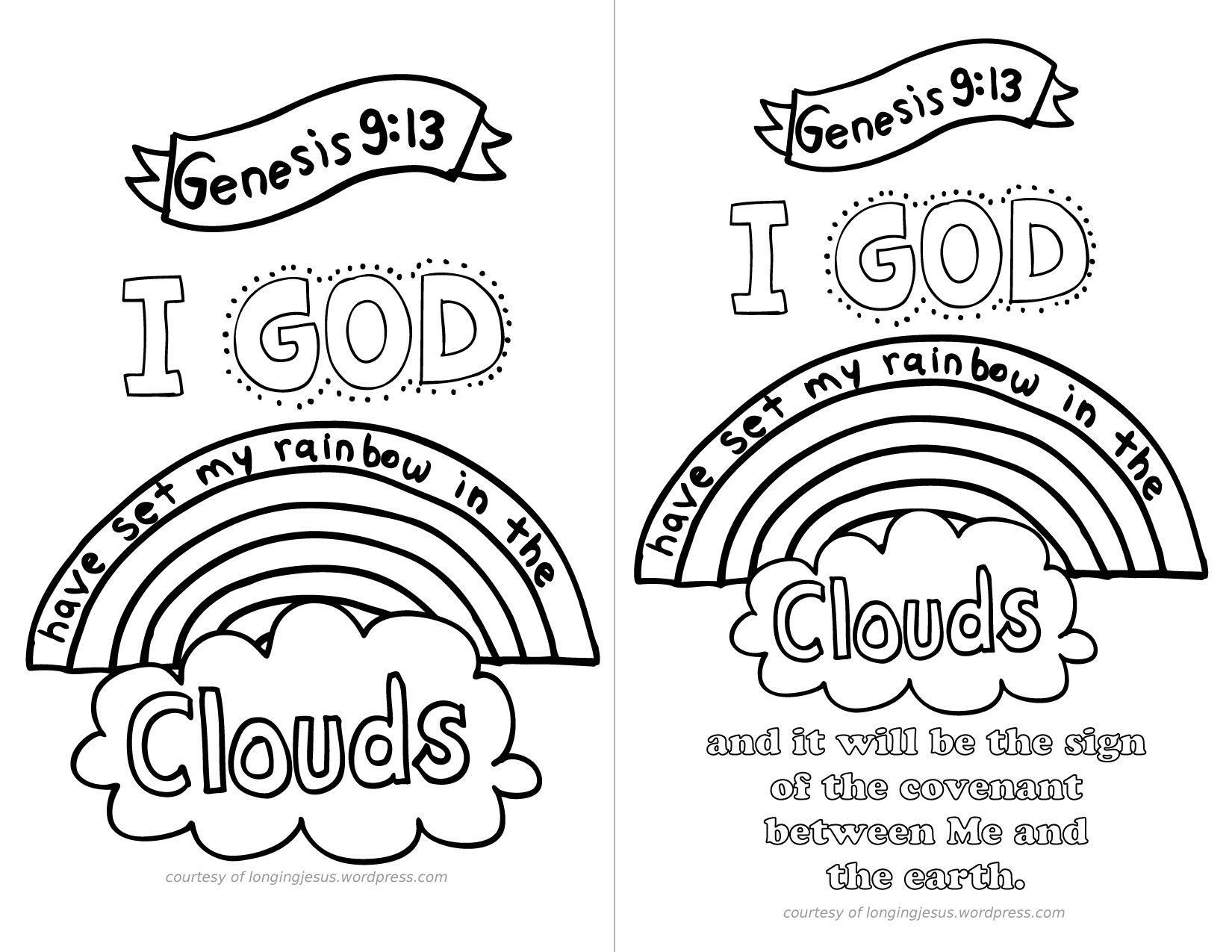 genesis coloring pages with scripture genesis 9 13 coloring page